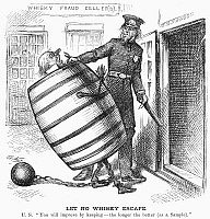 0091942 © Granger - Historical Picture ArchiveWHISKY RING CARTOON, 1876.   'Let No Whisky Escape.' American cartoon by Thomas Nast, 1876, on the continuing prosecution of members of the 'Whiskey Ring.'