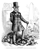 0370126 © Granger - Historical Picture ArchiveCHARLES FRANCIS ADAMS   (1807-1886). American lawyer, diplomat, and author. 'Croppies, Lie Down.' Cartoon by Thomas Nast, 1876, showing Adams as a political candidate, stepping on Irish men.