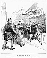 0089489 © Granger - Historical Picture ArchiveCARTOON: TRUSTS, 1888.   'The Defender of the Trusts.' James G. Blaine keeps President Grover Cleveland from interfering with business trusts during the 1888 presidential election. Contemporary American cartoon, by W.A. Rogers.