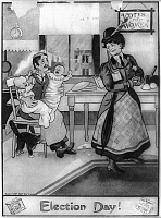 0127331 © Granger - Historical Picture ArchiveWOMEN'S RIGHTS, 1909.   'Election Day!' A suffragette leaving two infant children in the care of her husband as she prepares to go out. American cartoon by E.W. Gustin, 1909, satirizing the women's suffrage movement.