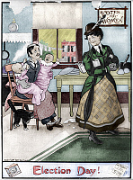 0127332 © Granger - Historical Picture ArchiveWOMEN'S RIGHTS, 1909.   'Election Day!' A suffragette leaving two infant children in the care of her husband as she prepares to go out. American cartoon by E.W. Gustin, 1909, satirizing the women's suffrage movement. Digitally colored by Granger, NYC -- All Rights Reserved.