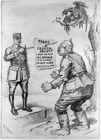 0622384 © Granger - Historical Picture ArchiveWWI: CARTOON, 1918.   'And this is no scrap of paper.' Comment on the close of World War I from the New York Herald, depicting French Marshal Foch presenting Germany with a demand for reparations on the point of his sword. Cartoon by William Allen Rogers, 7 November 1918.