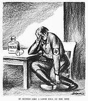 0035642 © Granger - Historical Picture ArchiveHITLER CARTOON, 1939.   'It Seemed Like a Good Idea at the Time.' American cartoon by D. R. Fitzpatrick, 1939, on Hitler's early misgivings about his new alliance with the Soviets following the joint invasion of Poland, when Stalin took more than half of the country for himself.