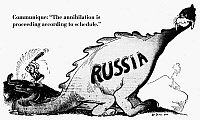 0088679 © Granger - Historical Picture ArchiveINVASION OF RUSSIA CARTOON.   'Communique: 'The annihilation is proceeding according to schedule.' American cartoon by Dr. Seuss (Theodor Geisel) for 'PM,' 6 August 1941, on German Chancellor Adolf Hitler's invasion of Russia.