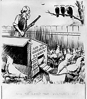 0175713 © Granger - Historical Picture ArchiveCARTOON: TRUMAN DOCTRINE.   'Now to keep the vultures off.' Uncle Sam aiming a gun at three vultures labelled 'Graft,' 'Waste,' and 'Corruption,' watching over a flock of chickens labelled 'Aid to Greece and Turkey,' commenting on the risks accompanying large government spending plans, after the Truman Doctrine was passed. Cartoon by Edwin Marcus, 1947.