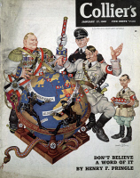 0621625 © Granger - Historical Picture ArchiveCARTOON: NAZI PROPAGANDA.   The Collier's Magazine cover for 17 January 1942, depicting Adolf Hitler stabbing a globe with Nazi flags; with him are Hermann Göring, Heinrich Himmler, and Joseph Goebbels.