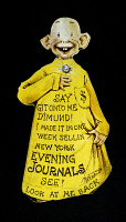 0062120 © Granger - Historical Picture ArchiveYELLOW JOURNALISM.   Newsboy recruiting card for the New York Evening Journal in the form of Richard F. Outcault's 'Yellow Kid.'