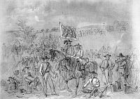 0059446 © Granger - Historical Picture ArchiveCIVIL WAR: ANTIETAM, 1862.   Antietam Campaign. 1st Virginia Cavalry at a halt. Pencil drawing, 1862, by Alfred R. Waud.
