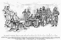 0028345 © Granger - Historical Picture ArchiveLEE'S SURRENDER, 1865.   The surrender of General Lee to General Grant at Appomattox Court House, Virginia, 9 April 1865. Drawing, 1887, by W. Taber after a lithograph.