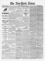 0266801 © Granger - Historical Picture ArchiveLEE'S SURRENDER, 1865.   Front page of the New York Times, 10 April 1865, reporting on the previous day's surrender of Confederate General Robert E. Lee to Union General Ulysses S. Grant, at Appomattox Courthouse, Virginia.