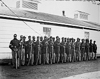 0005001 © Granger - Historical Picture ArchiveCIVIL WAR: BLACK TROOPS.   Company E, 4th United States Colored Infantry, at Fort Lincoln, Washington D.C., 1865.