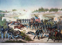 0011777 © Granger - Historical Picture ArchiveBATTLE OF OLUSTEE, 1864.   The 54th Massachusetts (Colored) Regiment at the Battle of Olustee during the American Civil War, Florida, 26 February 1864. Lithograph, 1894, by Kurz & Allison.