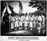 0012876 © Granger - Historical Picture ArchiveCIVIL WAR: RECRUITING.   'Come and Join Us Brothers.' American lithograph poster published by the Supervisory Committee for Recruiting Colored Regiments, Philadelphia, Pennsylvania, 1861.