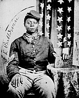 0013154 © Granger - Historical Picture ArchiveCIVIL WAR: BLACK SOLDIER.   Tintype of Sergeant J.L. Baldwin of Company G, 56th U.S. Colored Infantry, organized in August 1863.