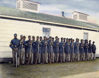 0038347 © Granger - Historical Picture Archive4th U.S. COLORED INFANTRY.   Company E, 4th U.S. (Colored) Infantry at Fort Lincoln, District of Columbia. Oil over a photograph, 1865.