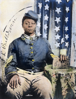 0038348 © Granger - Historical Picture ArchiveCIVIL WAR: BLACK SOLDIER.   Studio portrait of Sgt. J.L. Baldwin of Company G, 56th U.S. Colored Infantry, organized in August 1863. Oil over a photograph.