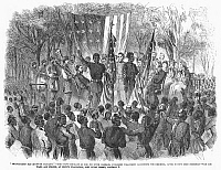 0053254 © Granger - Historical Picture ArchiveEMANCIPATION, 1863.   1st South Carolina (Colored) Volunteer Regiment celebrates the emancipation of the slaves at Port Royal Island, 1 January 1863. Contemporary American wood engraving.