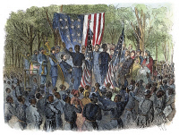 0053255 © Granger - Historical Picture ArchiveSC: EMANCIPATION, 1863.   1st South Carolina (Colored) Volunteer Regiment celebrates the Emancipation of the Slaves at Port Royal Island on 1 January 1863: wood engraving from a contemporary American newspaper.