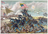 0063687 © Granger - Historical Picture ArchiveBATTLE OF FORT WAGNER, 1863.   The 54th Massachusetts (Colored) Regiment storming Fort Wagner, South Carolina, during the American Civil War, 18 July 1863. Lithograph, 1890, by Kurz & Allison.
