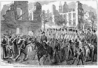 0087288 © Granger - Historical Picture Archive54th MASSACHUSETTS, 1865.   The 54th Massachusetts Colored Regiment marching through Charleston, South Carolina, 21 February 1865, after the city was taken by Union forces in the American Civil War. Contemporary American wood engraving.