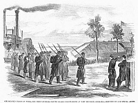0088998 © Granger - Historical Picture ArchiveCIVIL WAR: BLACK TROOPS.   The First Louisiana Native Guards disembark at Fort Macombe, Louisiana. The guard was one of the first all-black Union regiments in the Civil War. Wood engraving, American, 1863.