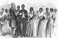 0090469 © Granger - Historical Picture ArchiveFREEDMEN: WEDDING, 1866.   Wedding of former slaves administered by the Freedmen's Bureau in the South. Wood engraving, 1866.