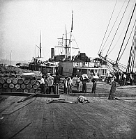 0090477 © Granger - Historical Picture ArchiveCIVIL WAR: BLACK LABOR.   'Contraband' (slaves freed upon entering Union lines) workers unloading vessels at City Point, Virginia, the location of Ulysses S. Grant's headquarters during the Petersburg Campaign, c1864-1865.