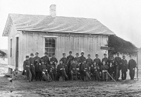 0528897 © Granger - Historical Picture Archive4th U.S. COLORED INFANTRY.   Officers of the 4th United States Colored Infantry Regiment at Fort Slocum in Washington, D.C. Christian Fleetwood, a non-commissioned officer, is fourth from the right. Photograph by William Smith Morris, December 1865.