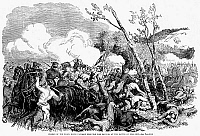0005668 © Granger - Historical Picture ArchiveCIVIL WAR: BULL RUN, 1861.   The Charge of the Black Horse Cavalry upon the Fire Zouaves at the First Battle of Bull Run, 21 July 1861. Wood engraving from a contemporary American newspaper.