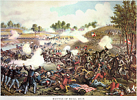 0011763 © Granger - Historical Picture ArchiveBATTLE OF BULL RUN, 1861.   The (First) Battle of Bull Run, 21 July 1861. Lithograph, 1889, by Kurz and Allison.