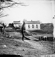 0032839 © Granger - Historical Picture ArchiveCIVIL WAR: BULL RUN, 1861.   The stone church at Centreville, Virginia. Photographed in March 1862 by George N. Barnard following the evacuation of Centreville and Manassas by Confederate troops after the First Battle of Bull Run.