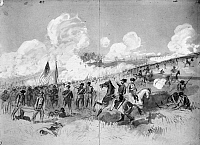 0035405 © Granger - Historical Picture ArchiveCIVIL WAR: BULL RUN, 1861.   Brigadier General Ambrose Burnside's Rhode Island Brigade and the 71st New York Regiment attacking Confederate batteries at Bull Run, 21 July 1861. Pencil and wash drawing, 1861, by Alfred R. Waud.