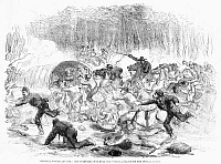 0088611 © Granger - Historical Picture ArchiveCIVIL WAR: BULL RUN, 1861.   The retreat of Union soldiers turning into a stampede at the First Battle of Bull Run, Virginia, 21 July 1861. Wood engraving from a contemporary English newspaper.