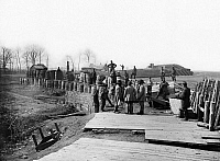 0163181 © Granger - Historical Picture ArchiveCIVIL WAR: BULL RUN, 1862.   Federal troops at abandoned Confederate fortifications at Manassas, Virginia, after the First Battle of Bull Run. Photograph by George Barnard, March 1862.