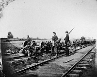 0172039 © Granger - Historical Picture ArchiveCIVIL WAR: BULL RUN, 1862.   Union soldiers guard box cars burned by General 'Stonewall' Jackson at Manassas Junction, at the Second Battle of Bull Run, 1862.