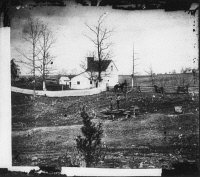 0371203 © Granger - Historical Picture ArchiveCIVIL WAR: BULL RUN, 1861.   William N. Thorton's house on the way to Sudley Ford, in Virginia. Photographed in March 1862 by George N. Barnard following the evacuation of Centreville and Manassas by Confederate troops after the First Battle of Bull Run.
