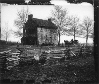0371205 © Granger - Historical Picture ArchiveCIVIL WAR: BULL RUN, 1861.   'Matthews,' or the stone house, at Bull Run, Virginia. Photographed in March 1862 by George N. Barnard following the evacuation of Centreville and Manassas by Confederate troops after the First Battle of Bull Run.