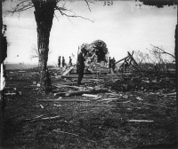 0371206 © Granger - Historical Picture ArchiveCIVIL WAR: BULL RUN, 1861.   Ruins of Mrs. Judith Henry's house at Bull Run, Virginia. Photographed in March 1862 by George N. Barnard following the evacuation of Centreville and Manassas by Confederate troops after the First Battle of Bull Run.