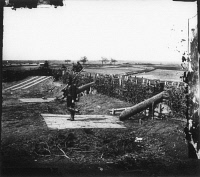 0371211 © Granger - Historical Picture ArchiveCIVIL WAR: CENTREVILLE, 1862.   Confederate fort, equipped with Quaker Guns, or false guns made from logs, on the heights at Centreville, Virginia. Photograph by George N. Barnard, March 1862.