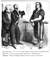 0065819 © Granger - Historical Picture ArchiveCIVIL WAR CARTOON, 1861.  A defiant Uncle Sam (Brother Jonathan) assures England's John Bull and Emperor Napoleon III of France, that the Union defeat at the (First) Battle of Bull Run on 21 July 1861 was of minor importance for the outcome of the war. Cartoon from a northern American newspaper of August 1861.