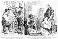 0091594 © Granger - Historical Picture ArchiveBRITAIN AND CIVIL WAR, 1862.   American cartoon, 1862, on Britain's aid to the Confederacy in the American Civil War and the hardships endured by the British working class resulting from the disruption of trade with the United States.