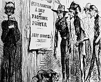 0101555 © Granger - Historical Picture ArchiveCONFEDERATE FASTING, 1863.   Cartoon from a northern newspaper poking fun at Confederate President Jefferson Davis' proclamation of a 'Day of fasting, humiliation and prayer,' 27 March 1863, during the American Civil War.