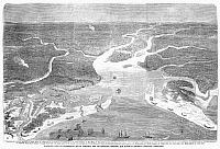 0088870 © Granger - Historical Picture ArchiveCHARLESTON BLOCKADE, 1863.   Bird's eye view of Charleston Harbor, South Carolina, during he Union blockade in the American Civil War. Line engraving from an American newspaper of August 1863.