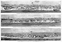 0088875 © Granger - Historical Picture ArchiveCIVIL WAR: FORT MOULTRIE.   Fort Moultrie, batteries and a hotel on Sullivan's Island in the harbor of Charleston, South Carolina during the Union blockade, 1863. Wood engraving, 1863.