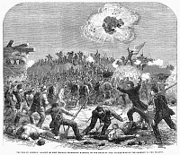 0090513 © Granger - Historical Picture ArchiveCIVIL WAR: FORT WAGNER.   Assault by the all-black 54th Massachusetts Volunteer Infantry on Fort Wagner, Charleston, South Carolina, 18 July 1863. Wood engraving from a contemporary English newspaper.
