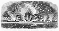 0265245 © Granger - Historical Picture ArchiveSIEGE OF CHARLESTON, 1863.   'The Siege of Charleston - Explosion of the magazine at Fort Moultrie.' Engraving, 1863.