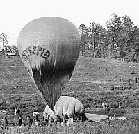 0163359 © Granger - Historical Picture ArchiveCIVIL WAR: BALLOON, 1862.   Professor Thaddeus Sobieski Coulincourt Lowe inflating his reconnaissance balloon 'Intrepid' on Gaines' Hill, Virginia, shortly before the Battle of Fair Oaks during the American Civil War, May 1862. Photograph by Mathew Brady or one of his assistants.