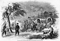 0052223 © Granger - Historical Picture ArchiveCONFEDERATE CAMP, 1861.   Confederate troops from Mississippi practicing with the Bowie knife in camp. Wood engraving from a Northern American newspaper of 1861.