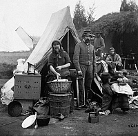 0163360 © Granger - Historical Picture ArchiveCIVIL WAR: CAMP LIFE, 1861.   Tent life of the 31st Pennsylvania Infantry of the Union Army at Queen's farm, near Fort Slocum, Washington, D.C. Photograph, 1861.