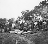 0043995 © Granger - Historical Picture ArchiveCIVIL WAR BURIAL, 1864.   Burial of soldiers in Fredericksburg, Virginia, May 1864. Photograph by Timothy H. O'Sullivan.